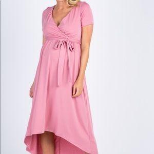 NWT PinkBlush 1X High Low Maternity Wrap Dress